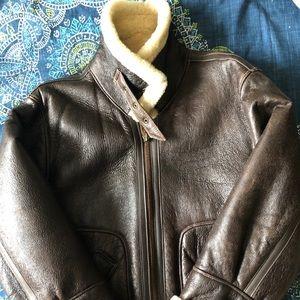 Aviator style leather jacket